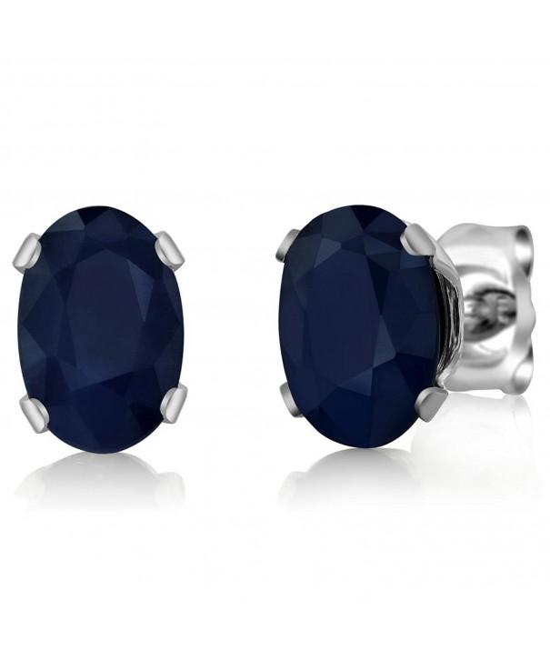 Sapphire Sterling Silver Earrings 6X4mm