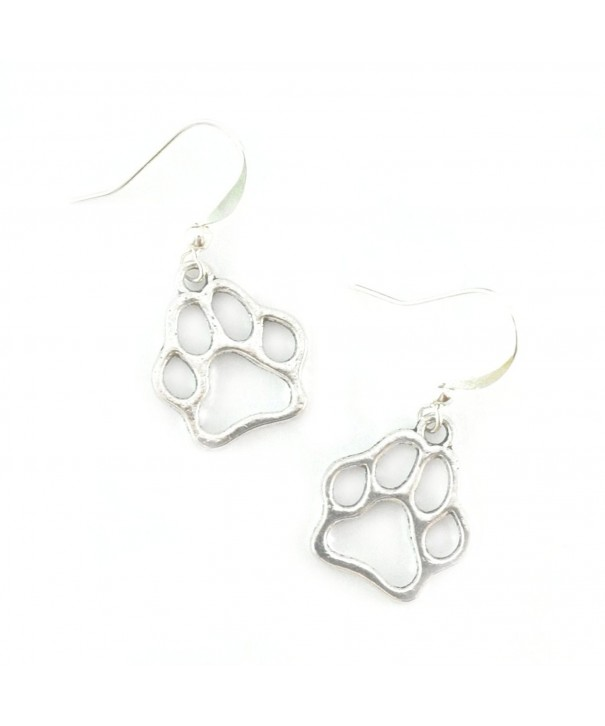 Silver Paw Print Charm Earrings