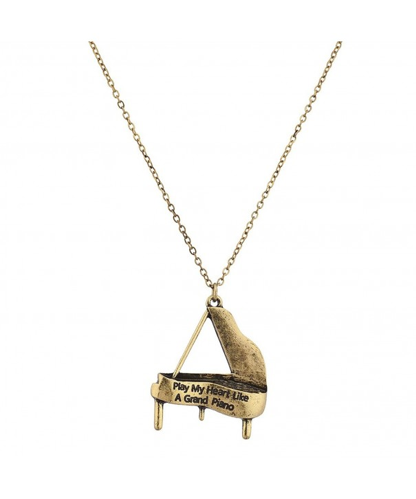 Lux Accessories Heart Pianist Necklace