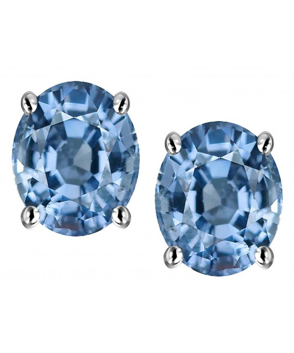 Star Simulated Aquamarine Earrings Sterling