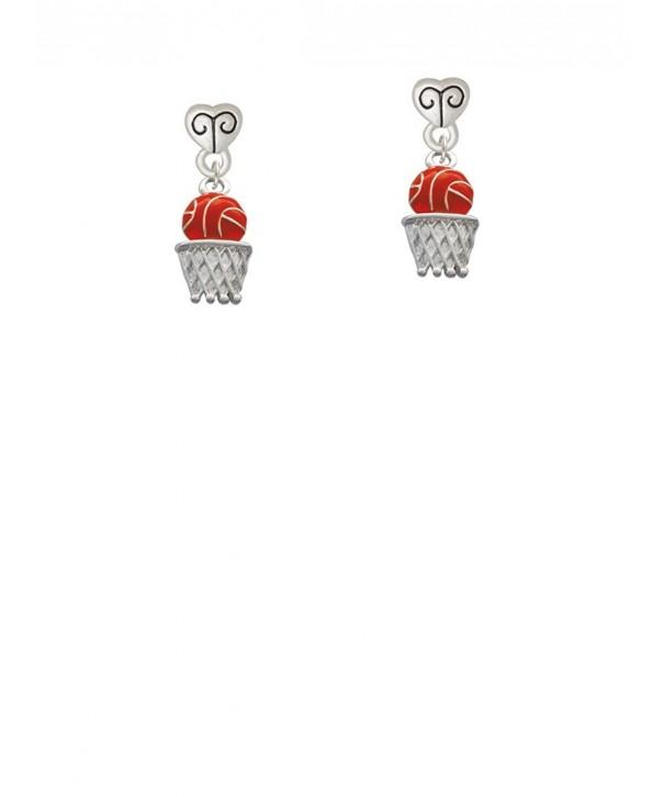 Silvertone Orange Basketball Dangle Earrings