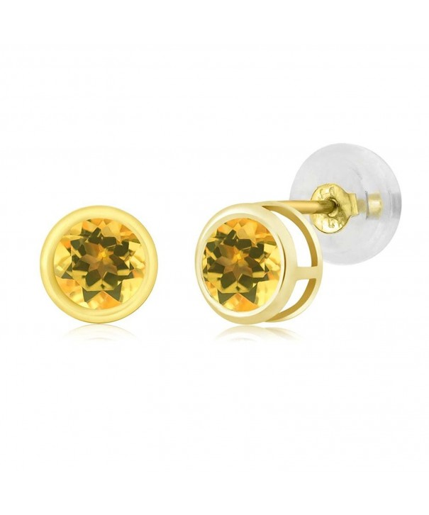 0 52 Round Yellow Citrine Earrings
