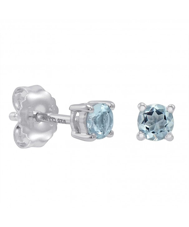 Aquamarine Stud Earrings Sterling Silver