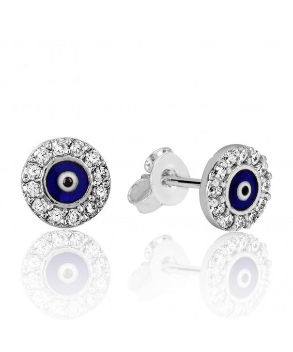 Small Earrings Enamel Silver Plated