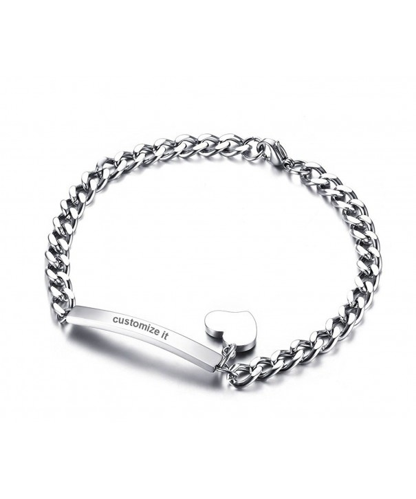 Engraving Stainless Steel Chain Bracelets Silver