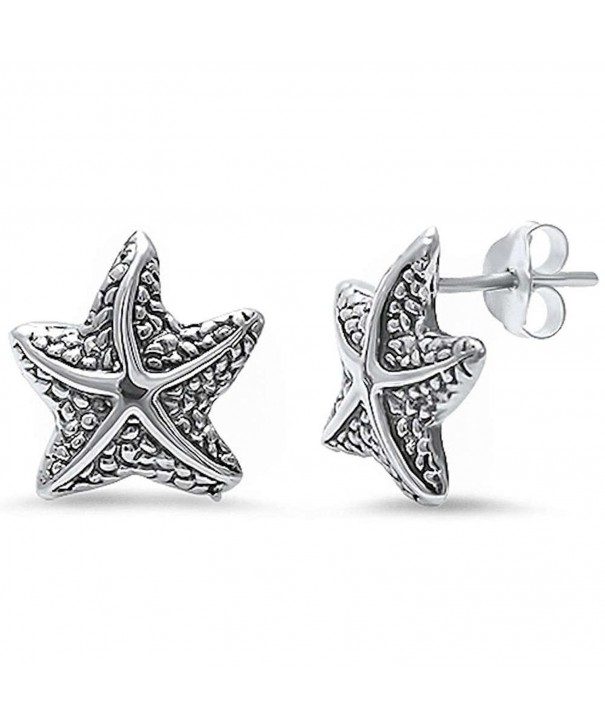 Starfish Earrings Sterling Nautical Jewelry