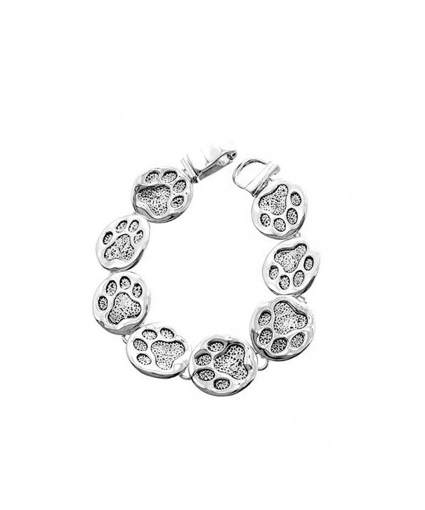Antiqued Silver Linked Print Bracelet