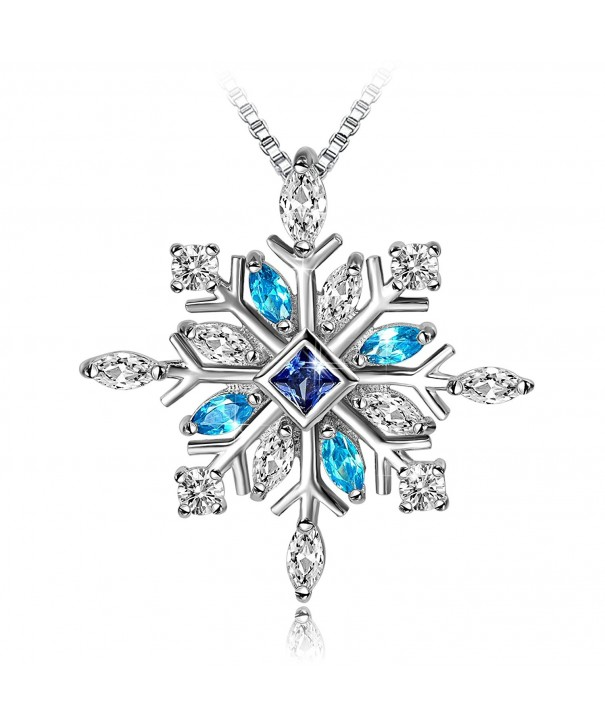 Long Way MSNE170130BU 925 Sterling Silver Snowflake Pendant Necklace with Blue CZ Long Way Fine Jewelry for Women Christmas Gift