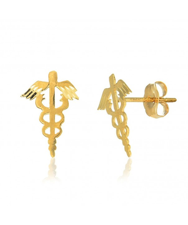 JewelStop Yellow Caduceus Medical Earrings
