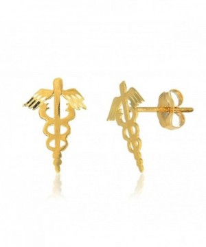 JewelStop Yellow Caduceus Medical Earrings