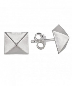 Sterling Silver Stainless Pyramid Earrings