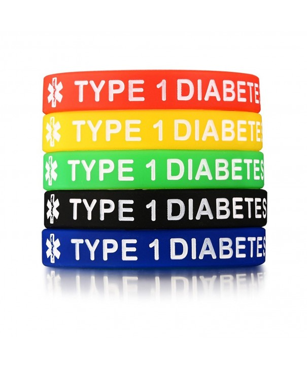 5Pcs a Set Silicone TYPE 1 DIABETES Medical Alert ID Bangle Bracelet -7 5