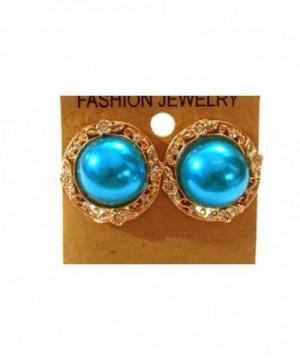 Clip Earrings Metallic Pearl Accent