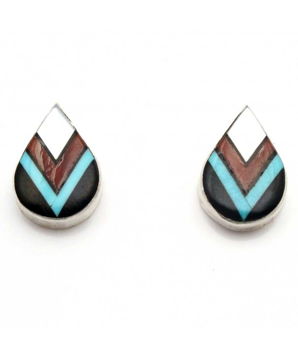 Multi Color Inlay Earrings Cheama