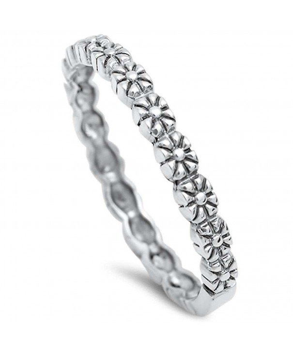 Cute Flower Band Sterling Silver