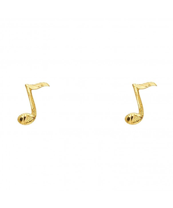 Yellow Gold Music Note Earrings