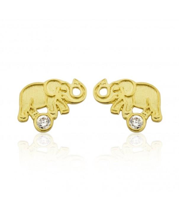 10K Gold Elephant With CZ
