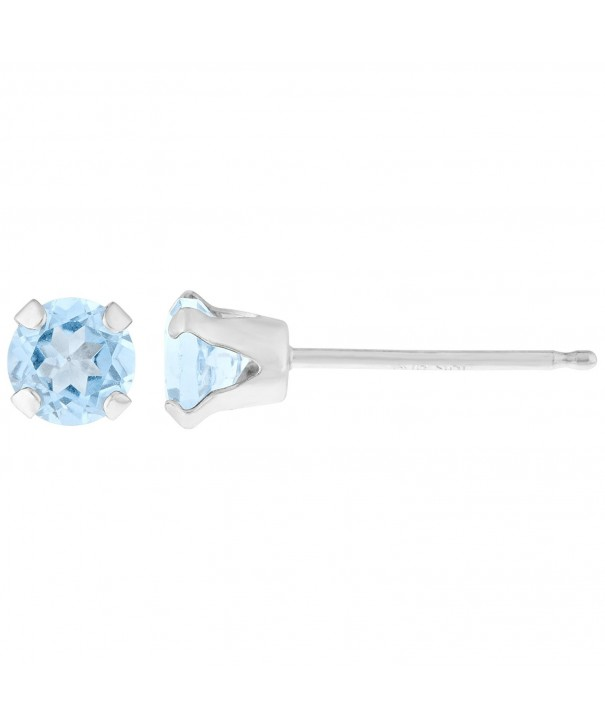 Round Aquamarine White Birthstone Earrings