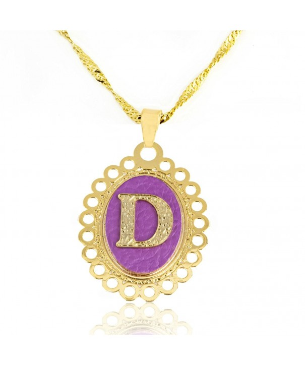 Personalized 24 Karat Initial Leather Necklace