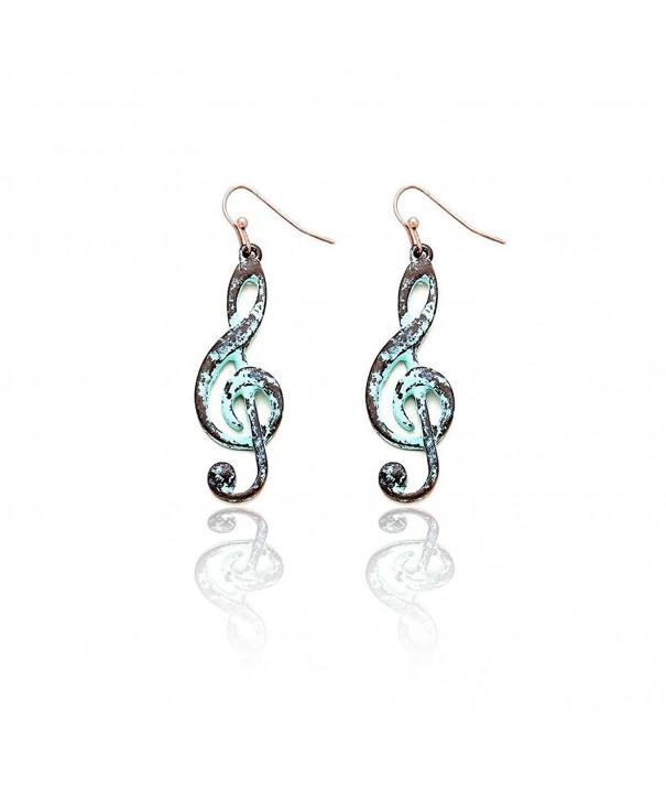 Patina Treble Clef Drop Earrings