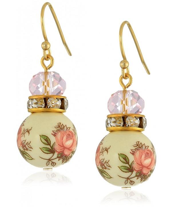 1928 Jewelry Floral Beaded Earrings