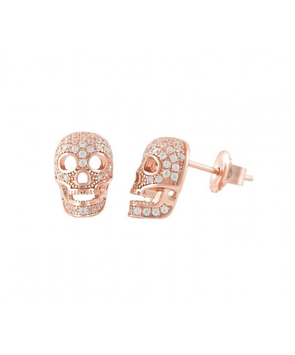 Rose Sterling Silver Skull Earrings