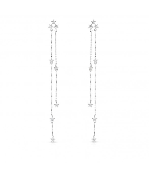 Rhodium Sterling Zirconia Chandelier Earrings