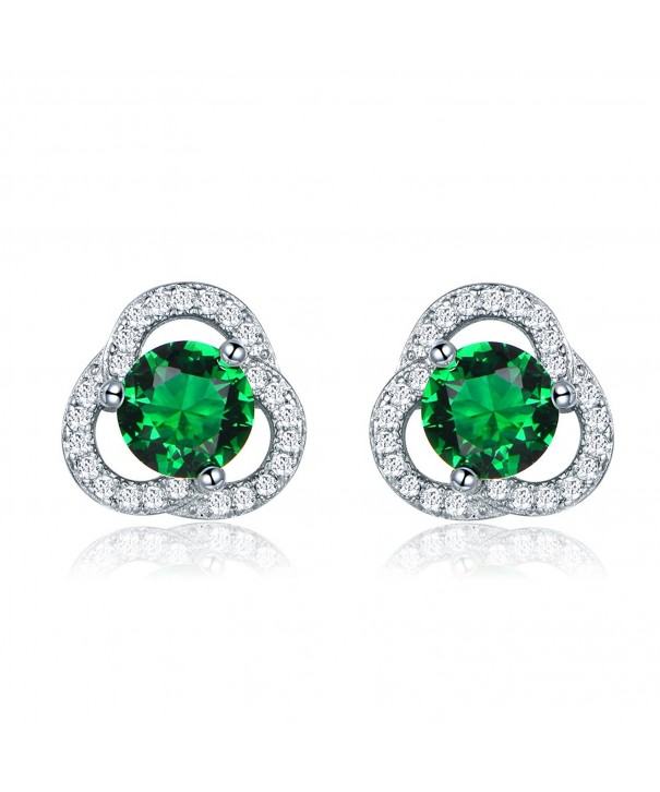 GULICX Floral Zirconia Earrings Emerald color