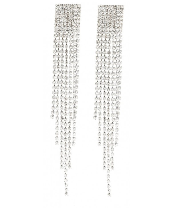 Silvertone Chandelier Tassels Stones Earrings