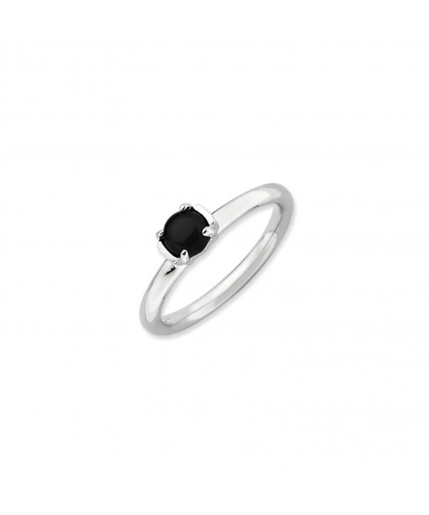 Silver Stackable Black Agate Ring