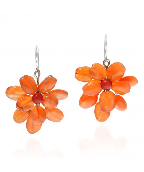 Cluster Simulated Carnelian Sterling Earrings