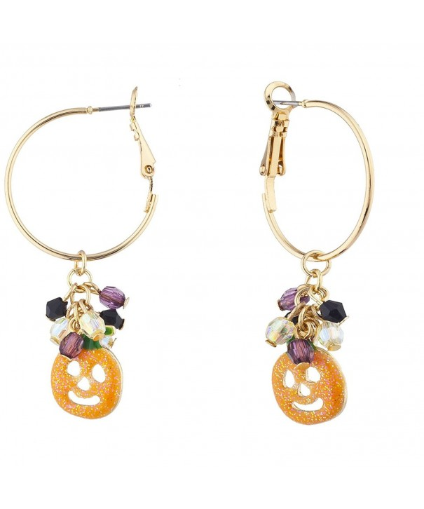 Lux Accessories Glitter Pumpkin Beaded Halloween Drop Earring