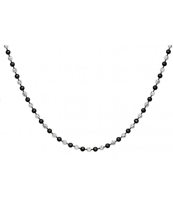 Sterling SilverBlack Rhodium Two Tone Necklace