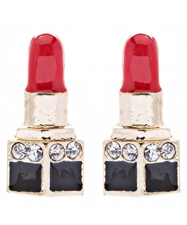 Lipstick Crystal Rhinestone Enamel Earrings