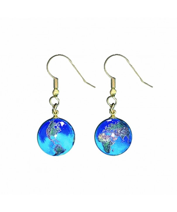 Earrings Marbles Continents Stainless Globes