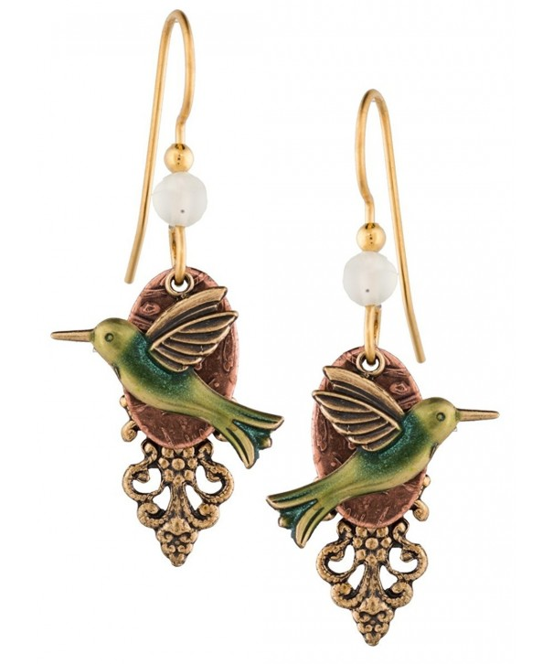 Silver Forest Hummingbird Gold Plated Earrings