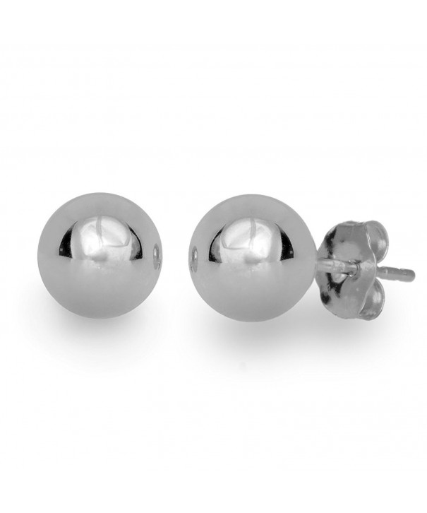 7MM High Polish 14K White Gold Classy Ball Earrings with Friction Post//Tension Back