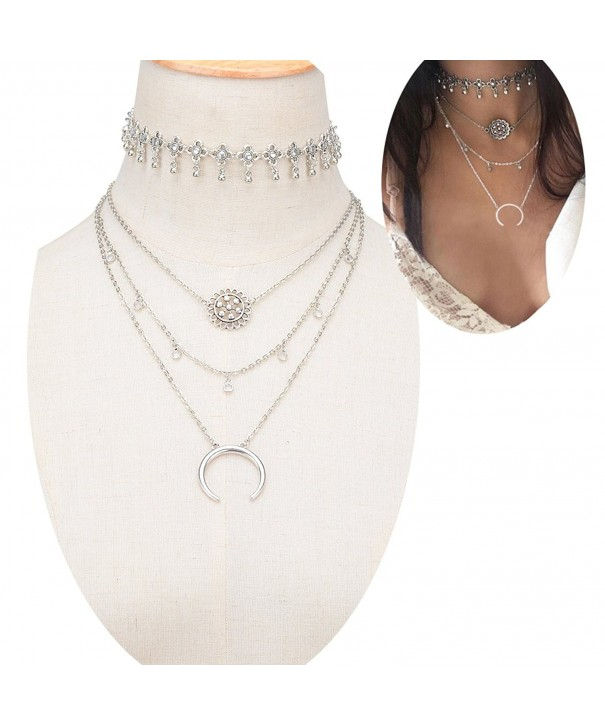 SUNSCSC Triangle Pendants Statement Necklace