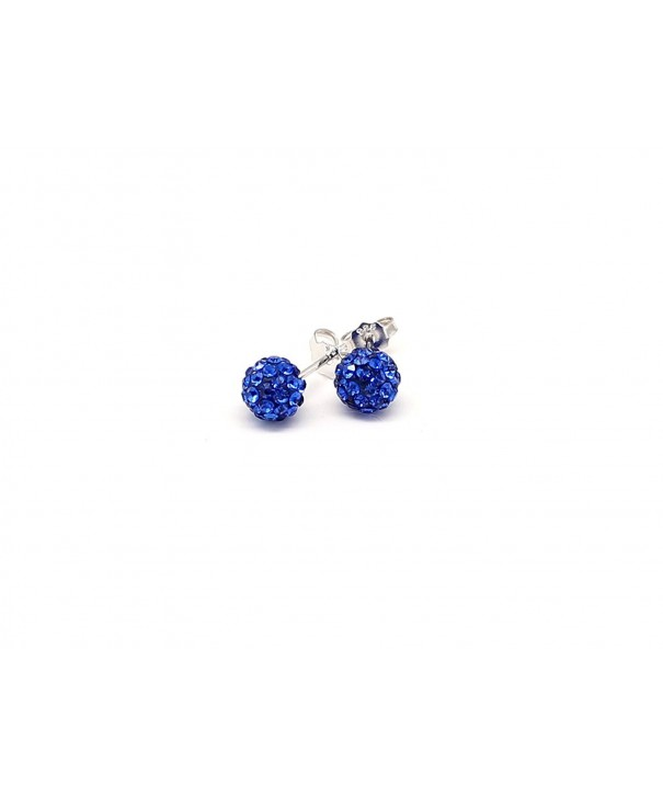 Crystal Earrings Sterling Silver Sapphire