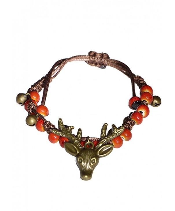 Handcrafted porcelain reindeer strand bracelet