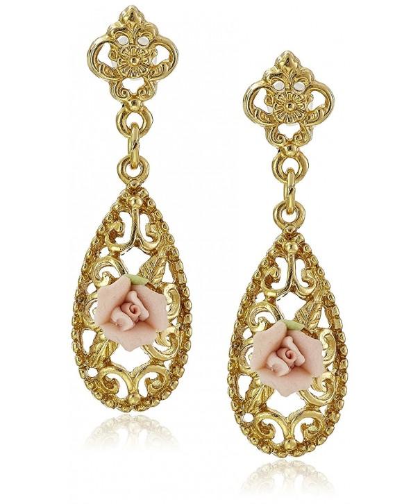 Downton Abbey Gold Tone Porcelain Earrings