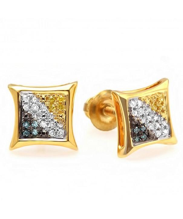 Yellow Sterling Diamond Setting Earrings