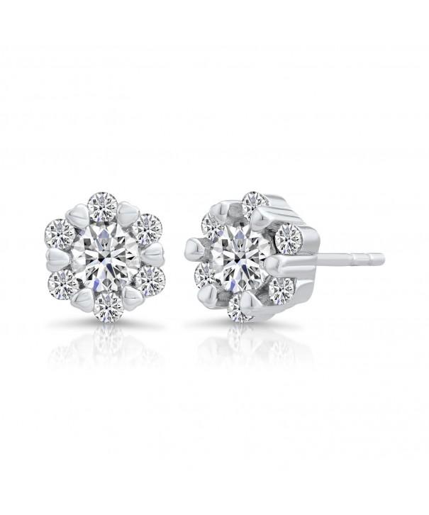 Sterling Silver Flower Earring Zirconia