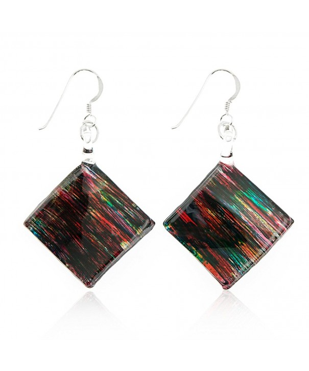 Sterling Painted Multi Colored Abstract Earrings