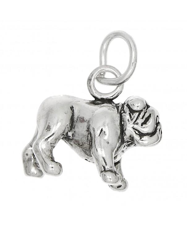 Sterling Silver Oxidized Dimensional Bulldog