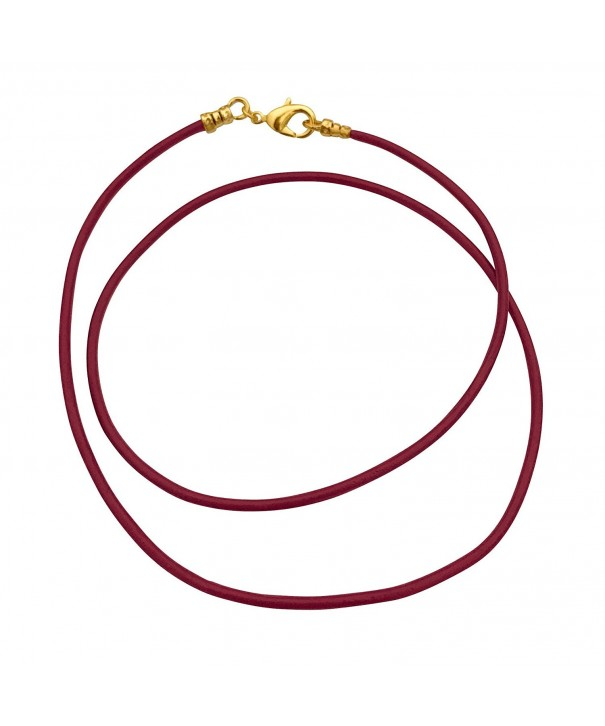 Plated 1 8mm Burgundy Leather Necklace