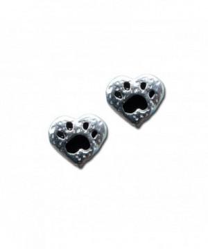 Paw Print Heart Stud Earrings