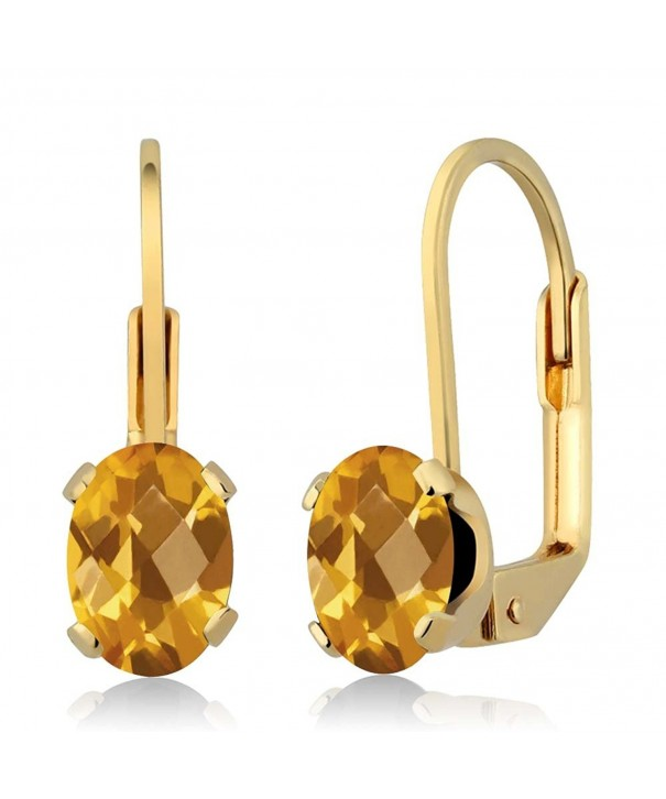 Checkerboard Citrine 4 prong Leverback Earrings