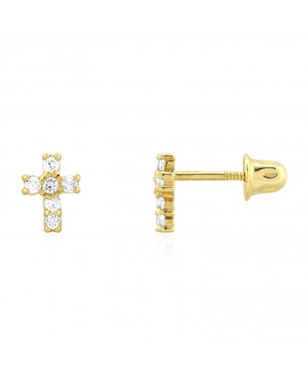 Yellow Religious Screwback Earrings 0 30Ct