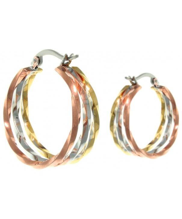 Jewelry Trends Stainless Triple tone Earrings